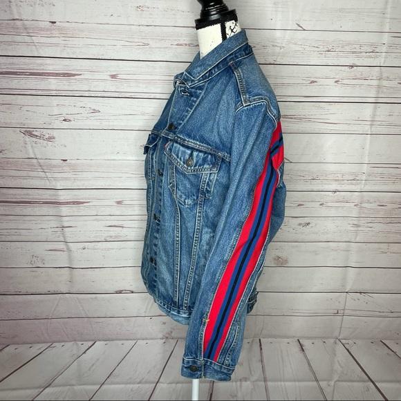 Levi's Jean Denim Jacket Coat adult M Red Stripe